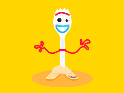 Forky branding icon color design art woody buzz lightyear character illustration disney pixar toy story forky
