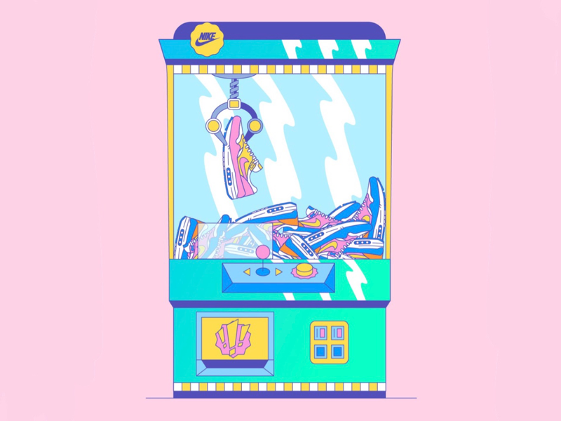 The Air Max Claw Machine! packaging branding logo inspiration hypebeast icon shoes color art design illustrator illustration sneaker head adidas nike