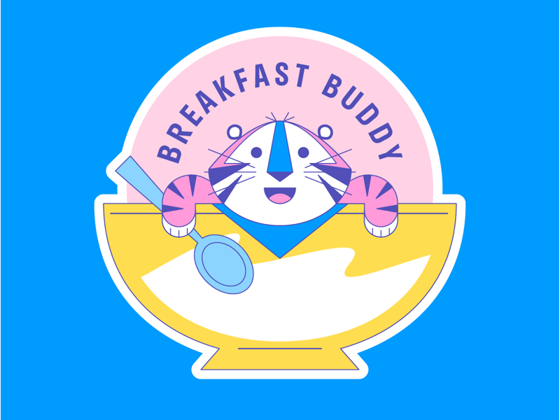 Breakfast Buddy stickers kawaii japan color icon brand branding breakfast illustration character art design cereal