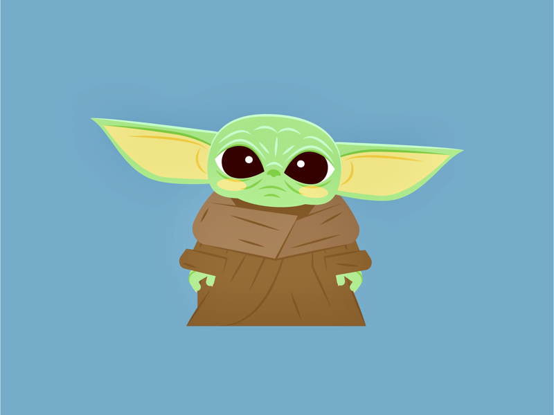 Baby Yoda flat creative character art animation star wars collage baby yoda mandalorian graphic design disney illustrator design branding icon illustration vector logo color