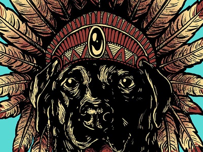 Chief illustration headdress indian lab dog chief