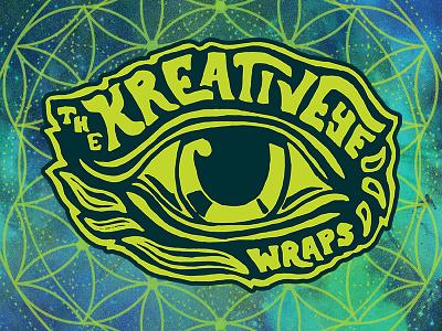 TheKreativEye Wraps branding eye hippie trippy logo