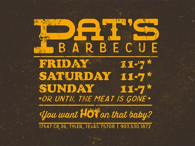 Pat's BBQ texture typography type vintage sign barbecue bbq