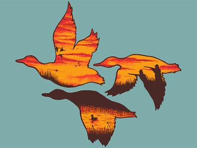Duck Season pond swamp illustration fall south hunting duck