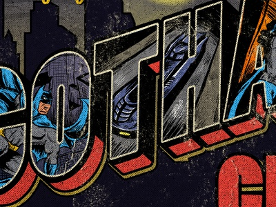 Gotham gotham city vintage typography illustration postcard batman gotham
