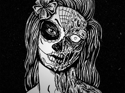 Calavera day of the dead sugar skull dia de los muertas illustration zombie calavera