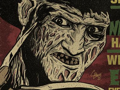 Freddy illustration horror nightmare on elm street freddy