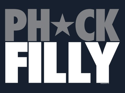Ph* ck Filly typography fan sports shirt nfl football philly eagles dallas cowboys