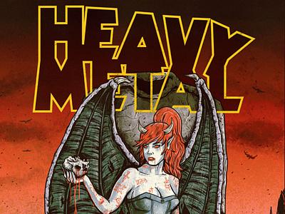Heavy Metal grungy evil illustration cover magazine skulls dark demoness heavy metal