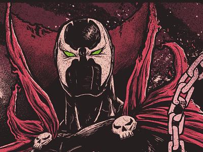 Spawn hero villain illustration hell comic movie poster spawn