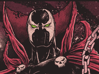 Spawn hero villain illustration hell comic movie poster spawn