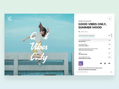 Chill Your Mind - Web Player playlist design summer blue gradient ui web music app music player