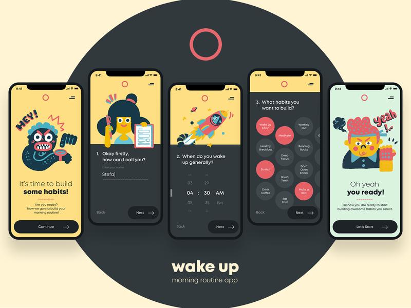 Wake Up - Let's Start mobile app mobile ui ux sign up habit tracker habits productivity illustration ui design