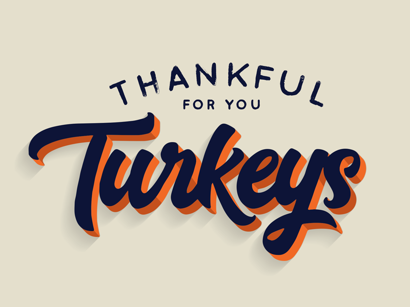 Thankful For Your Turkeys lettering typography 3d type script lettering script handlettering