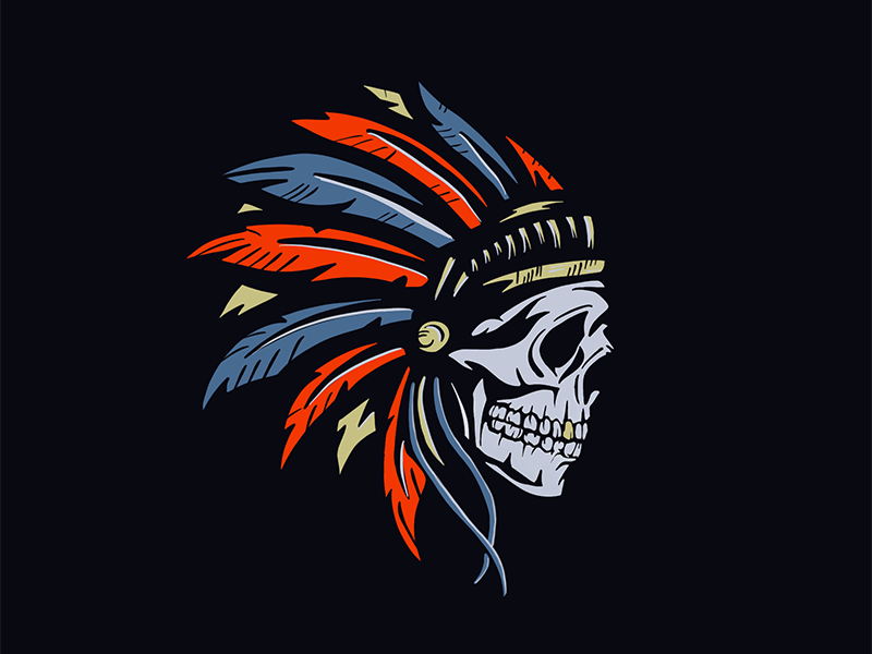 Big Chief procreate handdrawn feathers skull chief