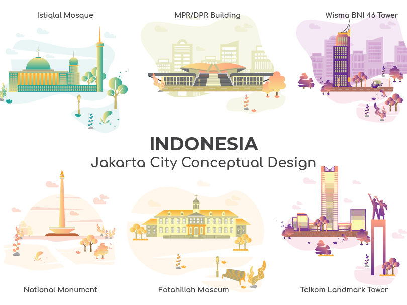 Jakarta City of Indonesia Vector website ux minimal flat  design building gradient ui modern illustration gedung mpdpr monas jakarta art flat symbol pattern icon graphic design vector