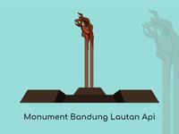Bandung City Vector Monument Bandung Lautan Api