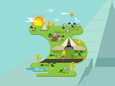 Jogjakarta City of Indonesia Conceptual Design Vector.