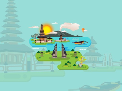 Bali City of Indonesia Conceptual Design Vector.