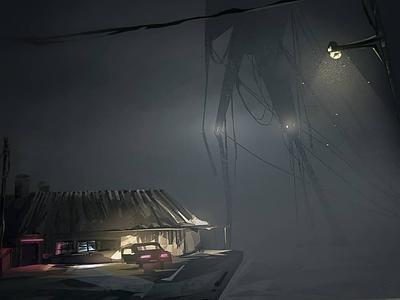 The night mood horror digital digital illustration light robot fog illustration conceptart environment wacom lightroom photoshop