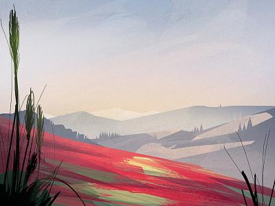 SantJordi landscape digitalillustration forest mountains illustration digital illustration wacom concept environment photoshop
