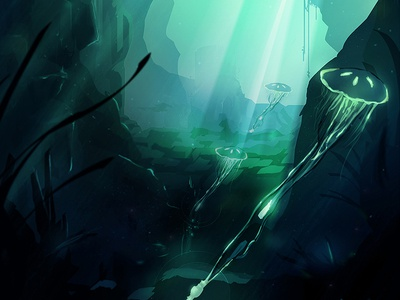 Underwater wacom digital illustration photoshop blue jellyfish underwater concept dive environment