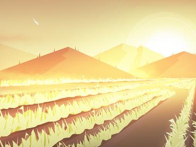 Summer wacom photoshop yellow sun mountains vector concept environment digital illustration summer