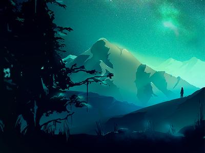 Elitrotta Stars wacom digital illustration photoshop sky blue concept mountains stars
