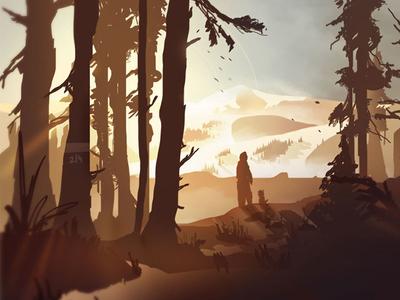 Distant Memories wacom photoshop snow forest sun trees concept environment digital illustration winter