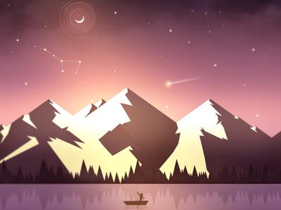 The lake wacom lake digital illustration photoshop purpure sky pink concept mountains stars