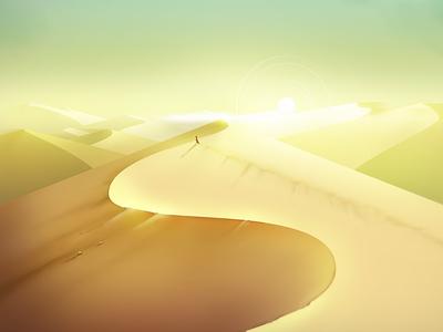 Sand landscape digital illustration photoshop yellow dunes sun way desert environment concept