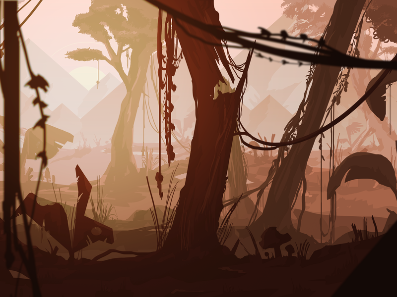 Detail. New project! game art dribbble digital 2d wacom vector digitalillustration illustration mountains forest sun digital illustration environment photoshop concept