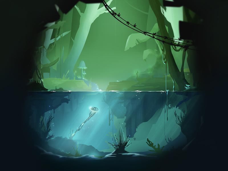 underwater #2 wacom concept art underwater landscape photoshop forest blue illustration digital illustration environment concept