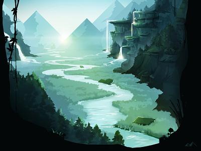 Forest #2 mountains wacom illustration forest blue digital illustration environment photoshop concept conceptart