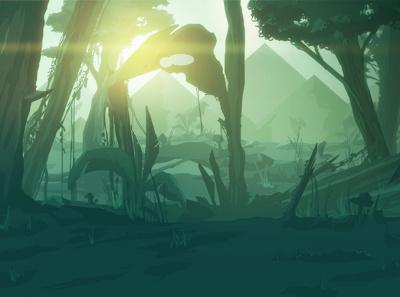 Jungle | Interactive Project landscape concept art jungle illustration forest mountains wacom digital illustration environment photoshop concept