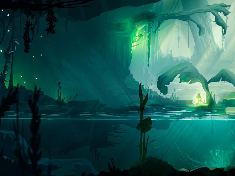 Jungle #2 - Left Part concept art sun illustration forest mountains wacom digital illustration environment photoshop concept