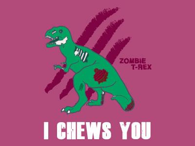 Zombie T Rex Valentine Card