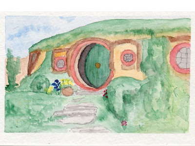 Bag End Watercolor lord of the rings hobbiton hobbits bag end watercolor
