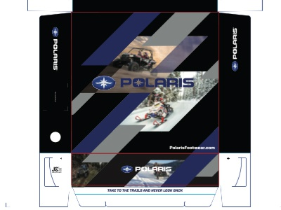 Polaris Footwear Box Top powersports box print footwear packaging