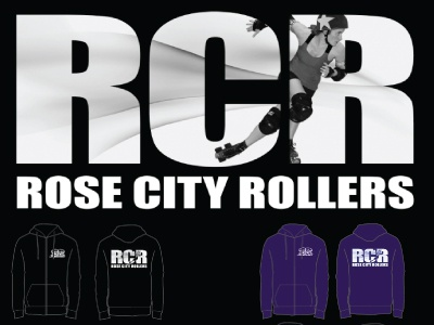 RCR Merch Hoodie monochrome roller derby hoodie apparel screenprint
