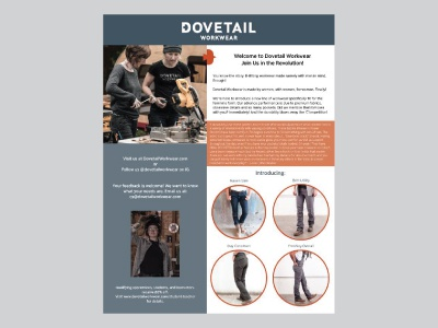 Dovetail Workwear Flyer marketing retail informational print flyer
