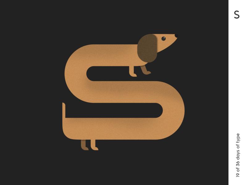 36 days | S minimalism poster 36dayoftype typogaphy typo lettering grain dog illustration qurle design