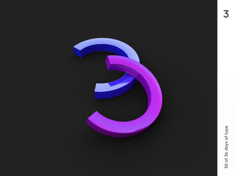 36 days | 3 minimalism black vector logo 36dayoftype illustration typography typo render cinema4d 3d graphic qurle design