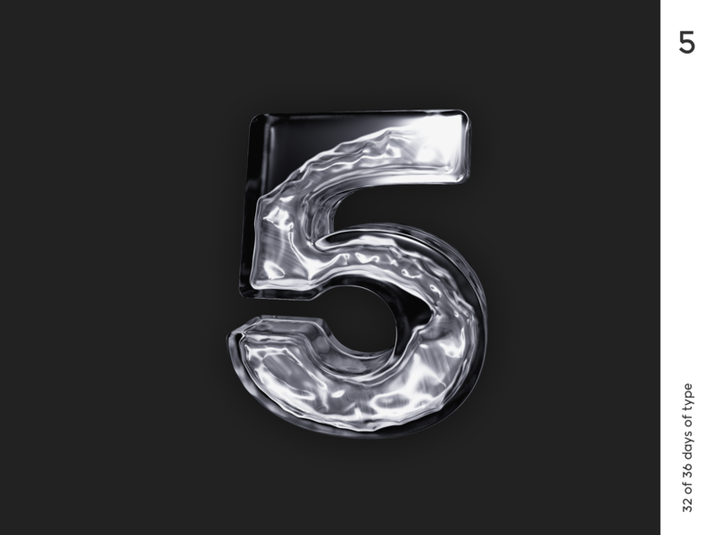 36 days | 5 minimalism typogaphy typo letter realflow c4d cinema4d render 3d qurle design