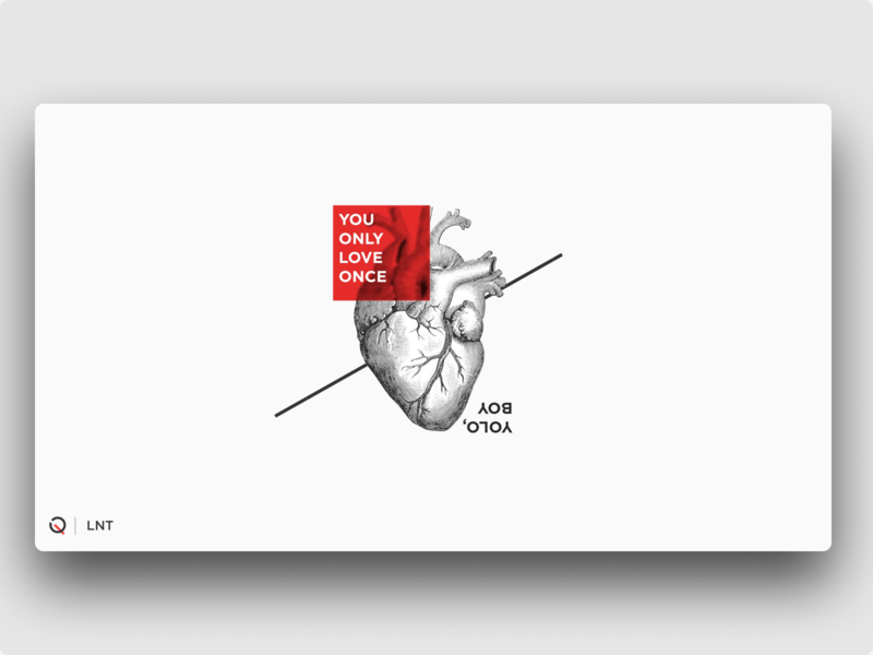 LNT | YOLO gravure minimalist minimalism heart love yolo red white lnt night thoughts late graphic qurle poster design