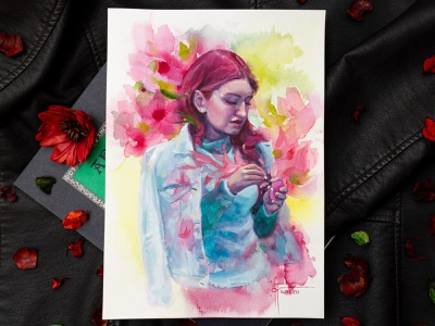 """Music"" watercolor + white gouache painting surrealism surreal art fantasy art watercolour still life character design woman illustration woman portrait female character illustration traditional art portrait portrait illustration portrait art watercolor painting watercolor illustration watercolor art watercolor girl illustration girl character"