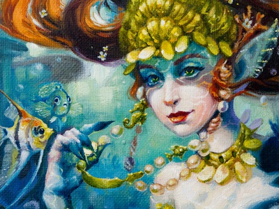Original Mermaid small oil painting on linen canvas character girl illustration girl character fairy creature design painting illustrator fantasy illustration fantasy art surreal art concept art character art character design fantasy traditional art oil paint oil on canvas oil painting oil mermaid