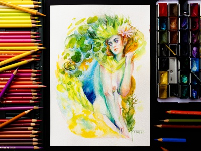 """Lady of the Lake"" - mixed media watercolor painting portrait painting surreal art surrealism fantasy fantasy illustration fantasy art art gouache watercolor painting watercolor art drawing watercolor illustration character concept character art character design mermaid artwork painting traditional art"