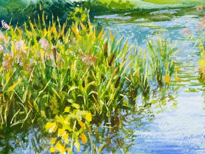 Pond landscape small gouache painting greenery reed concept art drawing art plant illustration plants gouache landscape art landscape illustration nature nature illustration nature art painting drawing traditional drawing traditional illustration traditional art landscape pond illustration