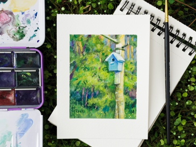 Mixed media watercolor + colored pencils Birdhouse art still life nature illustration forest nature art drawing gouache bird birdhouse watercolor painting watercolor art watercolor illustration watercolour watercolor landscape art landscape illustration landscape illustration traditional illustration traditional drawing traditional art